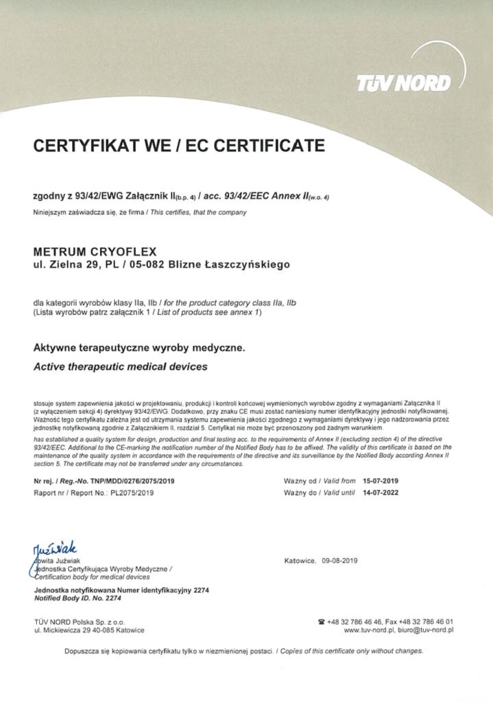 Certificate Metrum Cryoflex